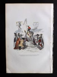 Grandville 1842 Hand Col Print. King Penguin with Subjects